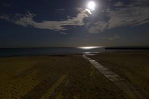 beach, moon
