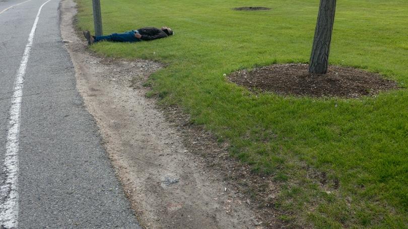 drunk on bike path