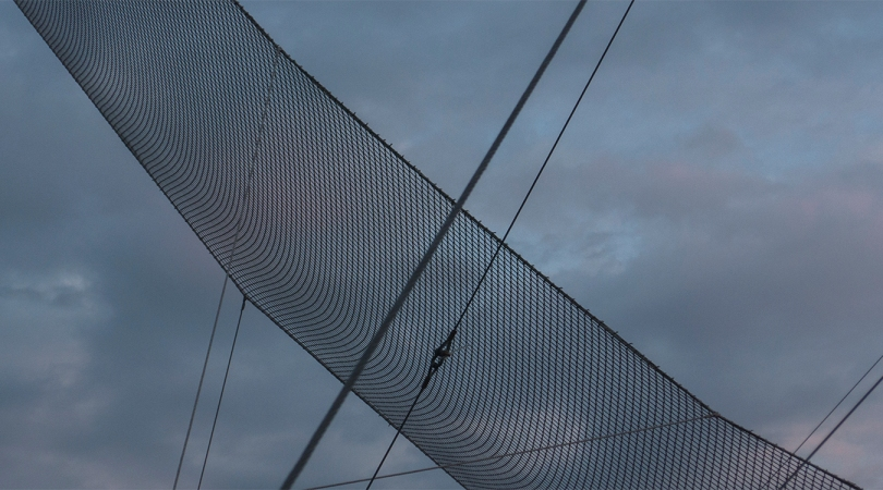 trapeze and cables, in case the sky falls