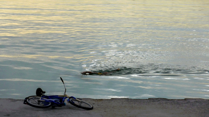 swimmer and bike