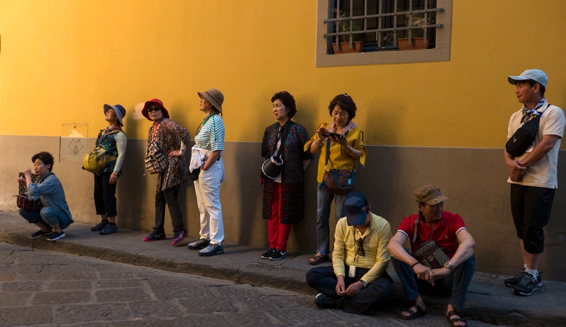 exhausted tourists in Florence