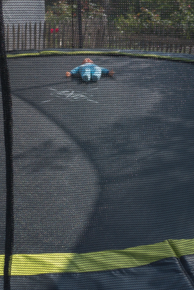 trampoline and doll